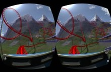 dual images from inside virtual reality goggles