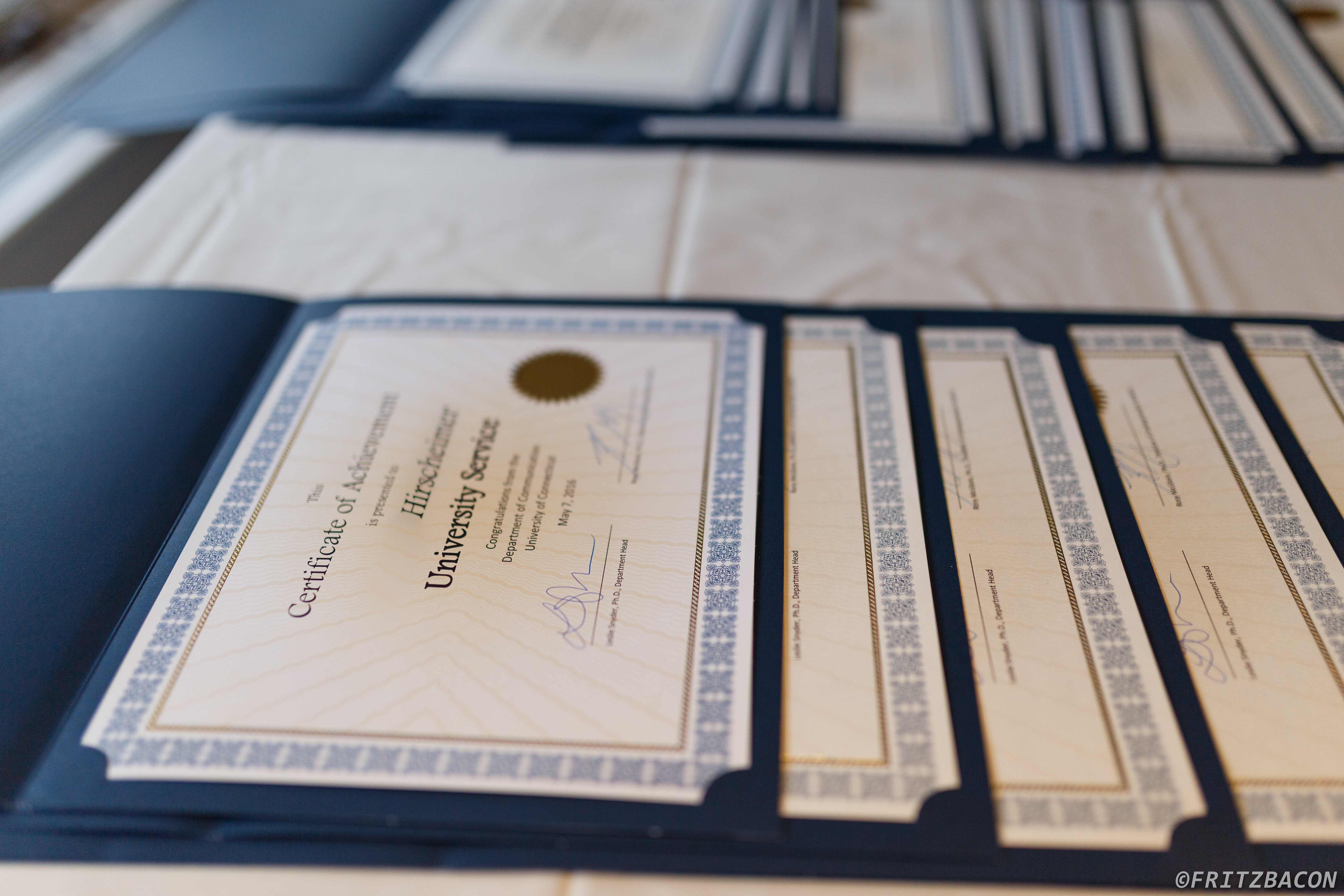 Certificates at Commencement Reception