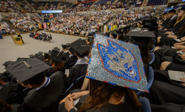 Decorated cap at Commencement