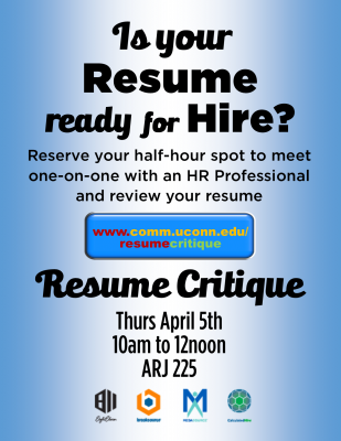 resume critique event department of communication