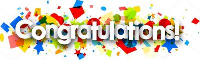 illustration of the word congratulations with colorful confetti