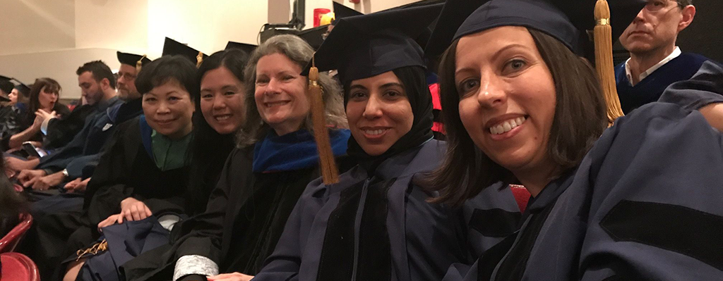 photo of doctoral students and advisors at commencement