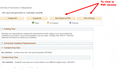 screenshot of Academic Requirements page in Student Admin, showing the two buttons for viewing the report in PDF format