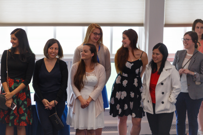 photo of grad students at Commencement Reception