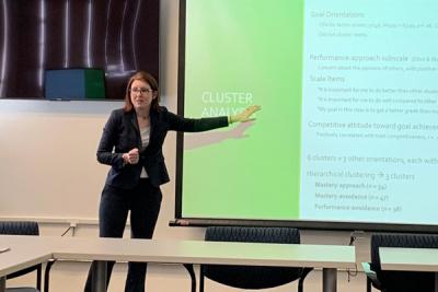 photo of Kara McGillicuddy presenting her research