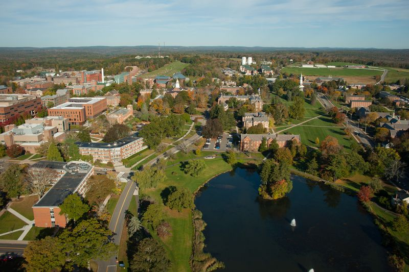 photo from drone above UConn Storrs