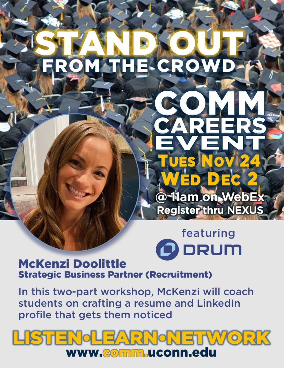Poster advertising upcoming event, featuring woman's face and graduation caps in background