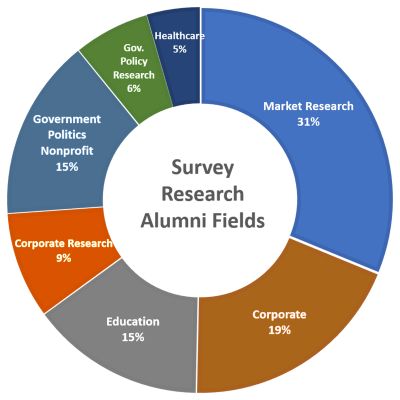pie chart representing survey research job fields