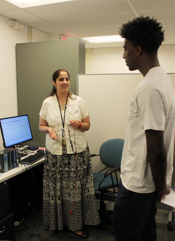 Faculty and student in Human Computer Interaction Lab