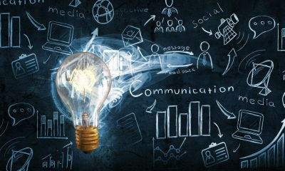 illustration of light bulb in front of chalkboard