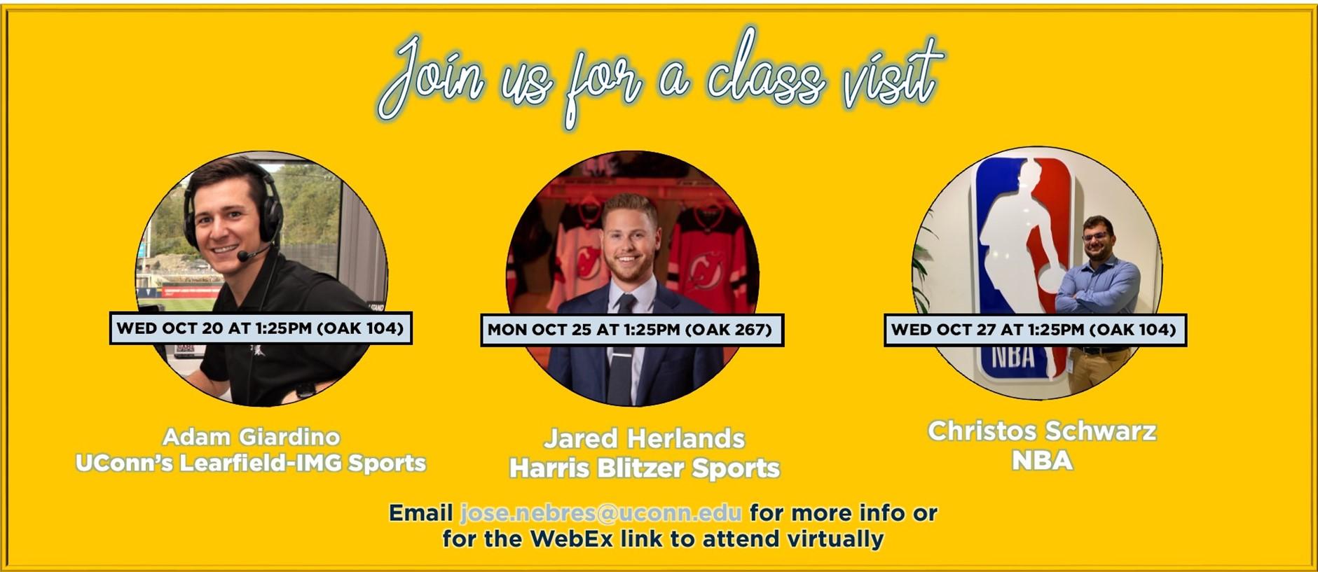 Class visits by alumni on OCT 20 (Adam Giardino) OAK 104; OCT 25 (Jared Herlands) OAK 267; OCT 27 (Christos Schwarz) Oak 104.  All visits at 1:25pm
